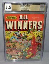 ALL WINNERS COMICS #7 (Promise Collection Pedigree) CGC 5.5 FN- Timely 1942 1943