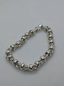 Vintage Fully Hallmarked Sterling Silver 925, Byzantine ? Dual Link Bracelet 23g