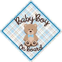 Non Personalised Baby on Board Car Sign Teddy Bear Blue Check & Brown