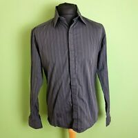 REISS Mens Shirt Size Large Grey Striped Fitted Cotton Button Up