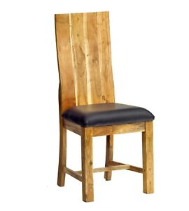 Chunky and Robust Design High Backrest Solid Acacia Wood Dining Chair Set of-2