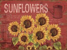 Barnyard Designs Six Sunflowers Retro Vintage Tin Bar Sign Country Home Decor