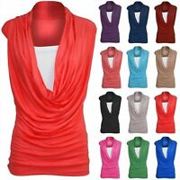 Womens Ladies Sleeveless Cowl Neck Vest Jersey T Shirt Top