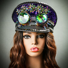Purple Party Hat Steampunk 3D Goggles Festival Burning Man Captain Top Hat NEW