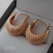 18ct Gold Plated Handbag Style Small Hoop Huggie Creole Earrings - UK New - 100