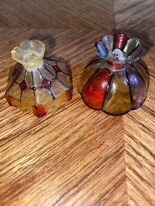2 Vintage Dollhouse Miniature Hanging Pendant Light Fixtures Stained Glass Look
