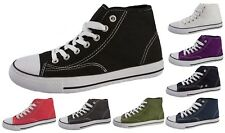 New Mens Womens Girls Boys Canvas Hi Tops Boots Lace Up Pumps High Tops Trainers
