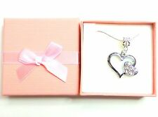 Bridesmaid Necklace Bride Flower Girl Rhinestone Heart Birthday Valentine gift