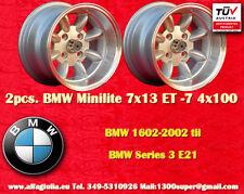 2 Cerchi BMW OPEL VW Minilite 7x13 ET-7 4x100 Wheels Felgen Llantas Jantes
