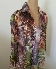 David Cline Sz S Multicolor Poly Snap Button Closure Top W/Matching Under Cami