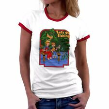 Let's Go Fishing Funny Womens Ringer T-Shirts Short Sleeve Casual blouses Tops