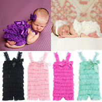 JN_ Girl Lovely Cute Bowknot Lace Ruffle Toddler Baby Sling Romper Jumpsuit Fu