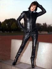 Genuine Leather Catsuit Lederoverall Long Zipper Sexy Dress Cat suit kinky Dress