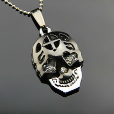 Stainless Steel Men Jewelry Black Skull Heart Crystal Eye Pendant Necklace Chain