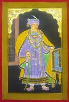 Hand Painted Gold Work Maharaja Portrait Miniature Painting Fine Udaipur India
