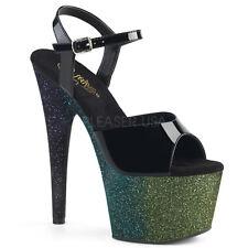 """7"""" Black Silver Glitter Pole Dance Shoes Stripper Heels Pleaser size 6 7 8 9 10"""