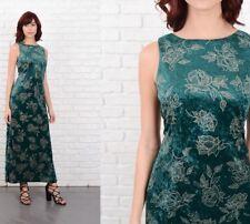 Vintage 80s Crushed Velvet Dress Floral Print Maxi Medium M