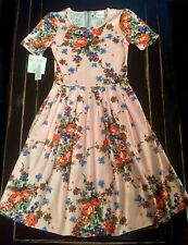 NWT XXS Lularoe VINTAGE Pink Peach FLORAL Amelia Dress MEGA UNICORN! Soft RARE