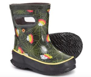 BOGS Baby Toddler Rubber Rain Boots Skipper Spider Boys Size 4 (12 Months) NIB