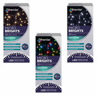 Christmas Lights - 50 Micro Brights Battery Timer LED In/Outdoor - Choose Colour