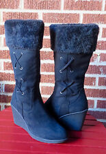 Route 66 Womens Winter Faux Fur Wedge Heel Boots, Size 7.5