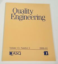 QUALITY ENGINEERING VOL 13 NO 2 00-01 AMERICAN SOCIETY FOR QUALITY Marcel Dekker