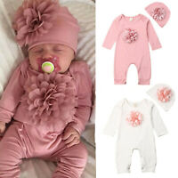 Newborn Infant Baby Girls Casual Long Sleeve Floral Romper Jumpsuit+Hat Clothes