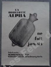 Publicité Bouillote ALPHA   SCHOENFELD  1927 advert
