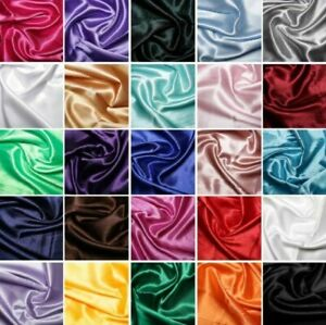 Silky Satin Fabric Dress Plain Coloured Craft Sewing Wedding Material 150cm Wide