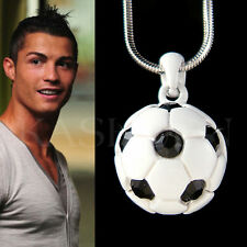 w Black Swarovski Crystal ~White 3D Football Soccer Ball Necklace Unisex Jewelry