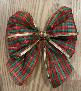 "3 x  5"" Tartan with gold  edge tie on  Bows,Gift bows,xmas tree"