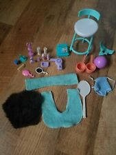 Lots Of Barbie Items, Shampoo, Perfumes, Blow Dryer, Mirrors, Towels, Pots,.