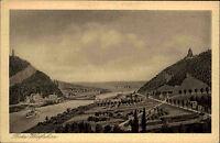 Porta Westfalica ~1920/30 Panorama Zeichnung Gemälde Brücke Weser Denkmal Kaiser