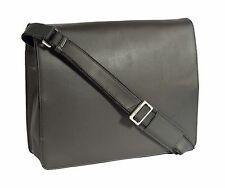 97fc1f9996 Real Leather Cross Body Flap over Work Bag Shoulder Messenger Satchel Black  NEW