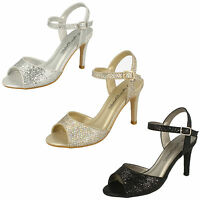 Ladies Anne Michelle Black,Gold,Silver Sparkle/Shimmer Evening Sandals - F10467