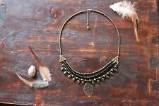 Gorgeous Handmade 3 Layer Bronze & Black Beaded Leaf Pendant Charm Necklace