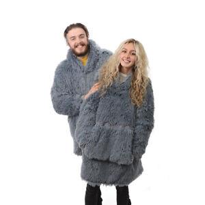 Country Club Yeti Decke Kapuzenpullover, Grau Eine Größe Flaumig Übergröße Pulli