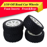 Front Rear Tires Wheels 12mm Hex For Redcat HPI 1/10 Off Road Buggy Car White