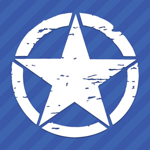 Army Military Star Distressed Tattered Vinyl Decal Sticker