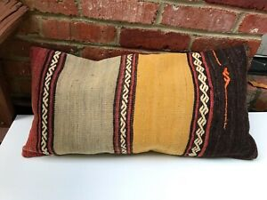 """Turkish Kilim Pillow Cover Throw Pillow made of Vintage Handwoven Rug 28x15"""""""