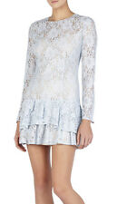 """$268 BCBG LT CRYSTAL BLUE """"LYSA"""" LONG SLEEVE EMBROIDERED LACE DRESS NWT 6"""
