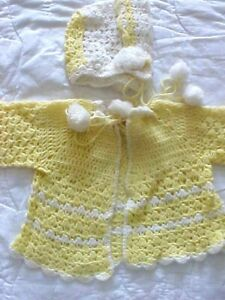 Infant Baby Sweater and Hat Hand Crocheted Unisex Acrylic Yarns White Yellow Pom