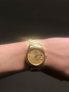 (BEST) Bulova Super Seville DIAMOND Dial GOLD PLATED DAY/DATE Homage PERFECT