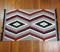 "Vintage Navajo Rug 66"" x 39"" Ganado Klagetoh Step Diamond Motif Red Gray Black"