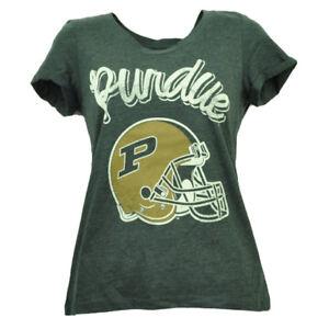 Purdue Boilermakers Distressed Womens Tshirt Helmet Short Sleeve Crew Neck Small