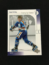 """WAYNE GRETZKY INSERT RETRO """"STANLEY CUP CHAMPS"""" OILERS 2001 UD HOCKEY CARD"""