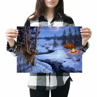 A3 - Winter Camping Snow Scene Christmas Poster 42X29.7cm280gsm #46448