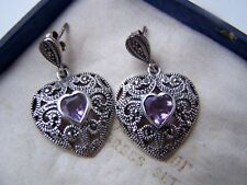 DELIGHTFUL VINTAGE SOLID STERLING SILVER AMETHYST MARCASITE EARRINGS UNUSUAL