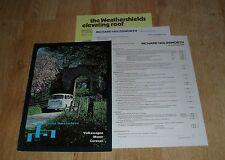 VOLKSWAGEN VW Holdsworth CAMPER/AUTOCARAVAN OPUSCOLO 1976