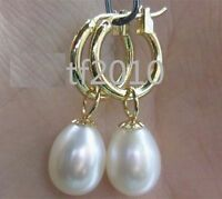 HOT HUGE AAA 10-13MM NATURAL SOUTH SEA WHITE PEARL EARRINGS 14K SOLID GOLD